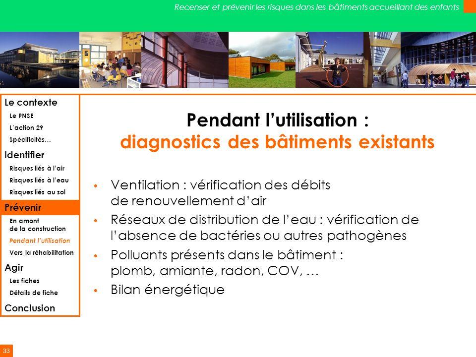 Pendant l'utilisation : diagnostics des bâtiments existants