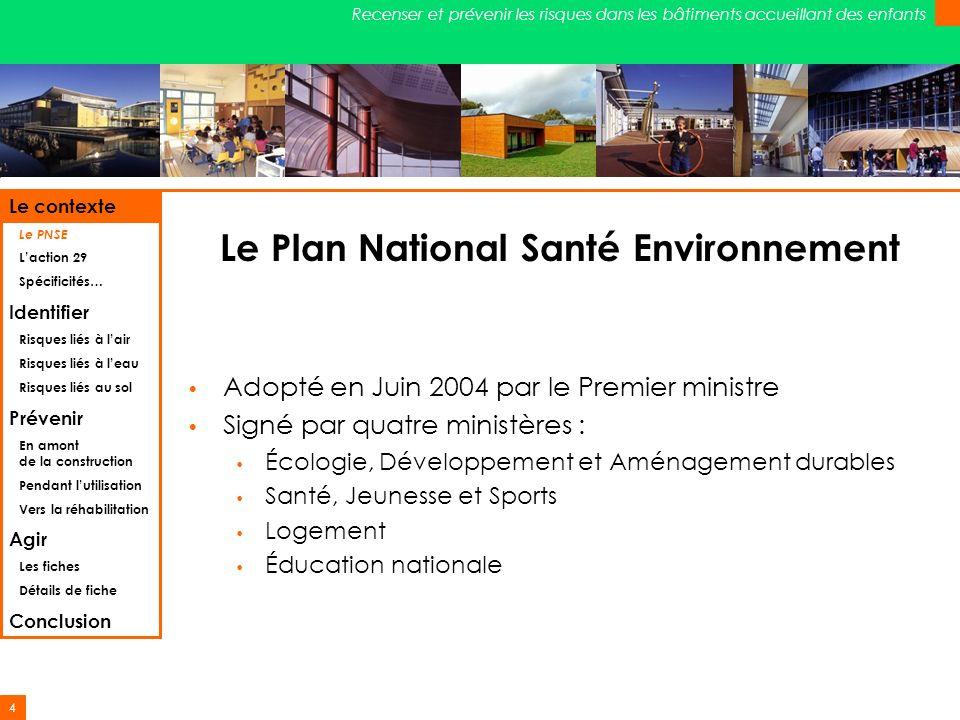 Le Plan National Santé Environnement
