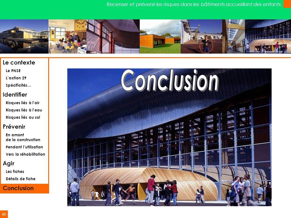 Conclusion Le contexte Identifier Prévenir Agir Conclusion Le PNSE