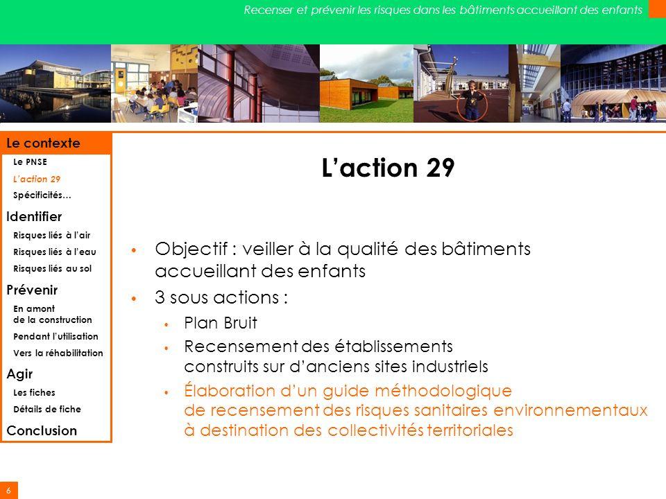 Le contexte Le PNSE. L'action 29. Spécificités… Identifier. Risques liés à l'air. Risques liés à l'eau.