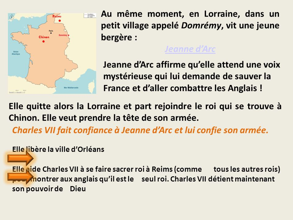 Charles VII fait confiance à Jeanne d'Arc et lui confie son armée.