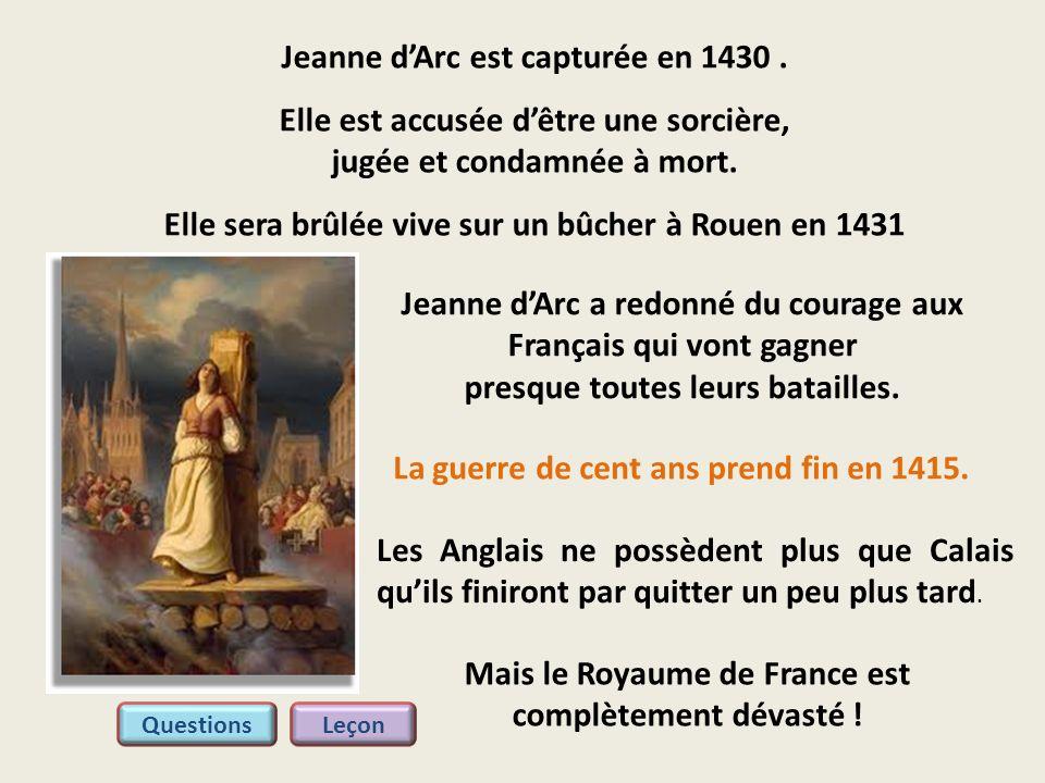 Jeanne d'Arc est capturée en 1430 .