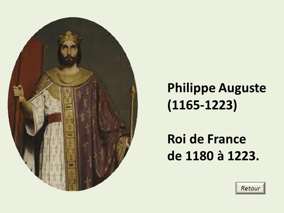 Philippe Auguste (1165-1223) Roi de France de 1180 à 1223. Retour 17