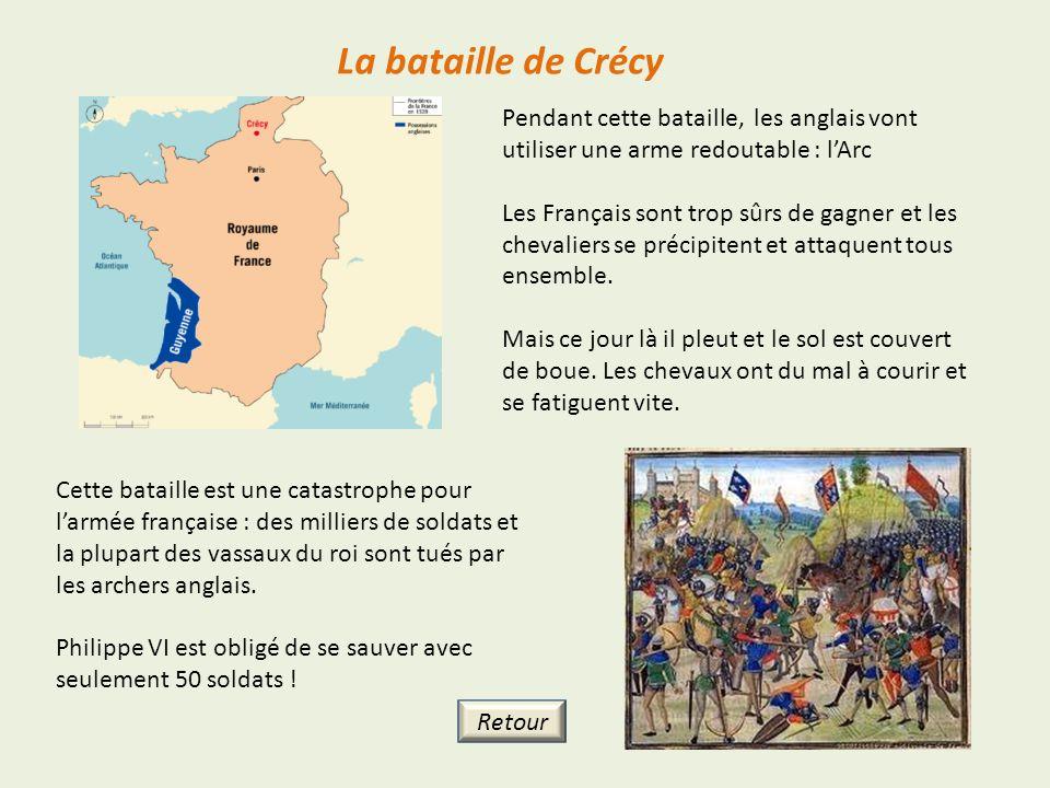 La bataille de Crécy Pendant cette bataille, les anglais vont utiliser une arme redoutable : l'Arc.