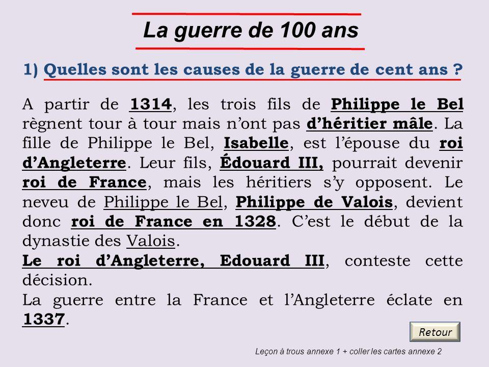La guerre de 100 ans 1) Quelles sont les causes de la guerre de cent ans