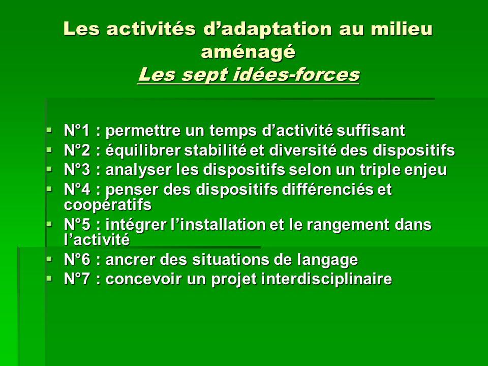 Les activités d'adaptation au milieu aménagé Les sept idées-forces