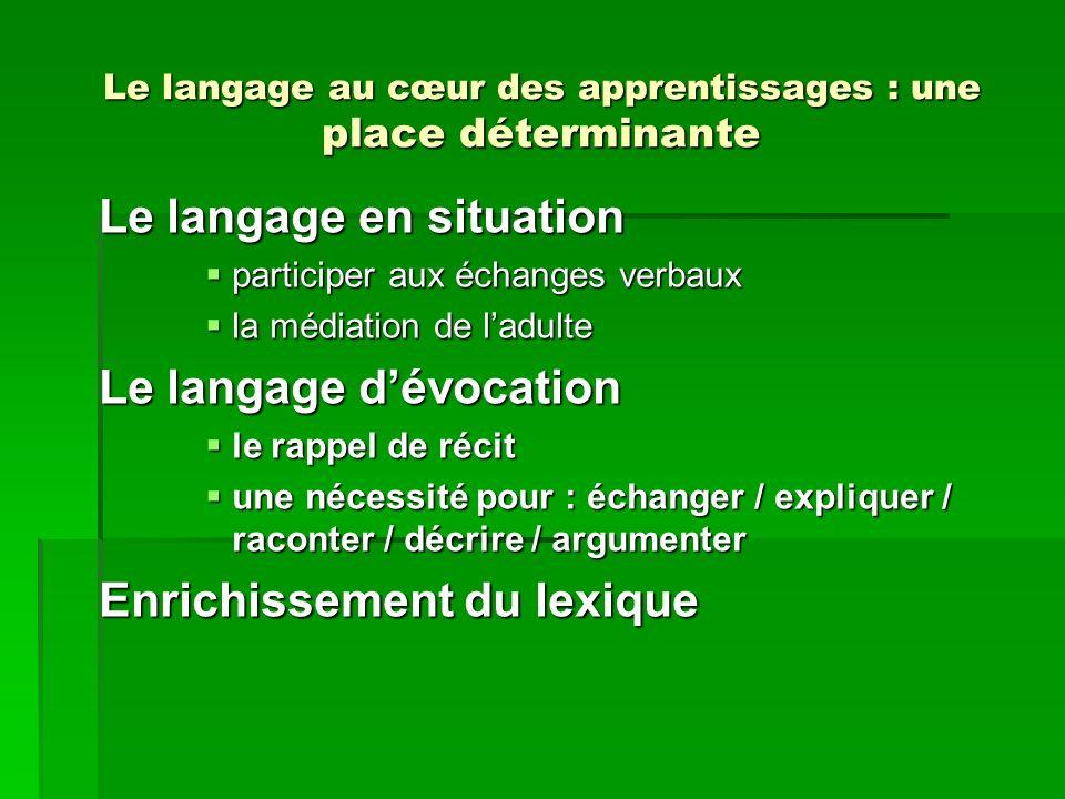 Le langage au cœur des apprentissages : une place déterminante