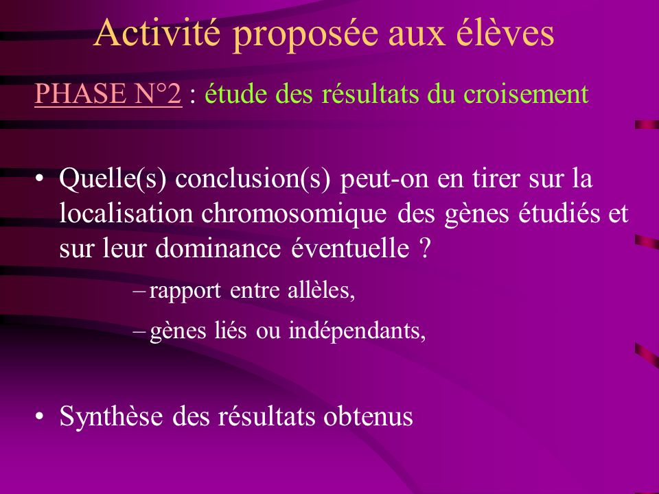 Activité proposée aux élèves