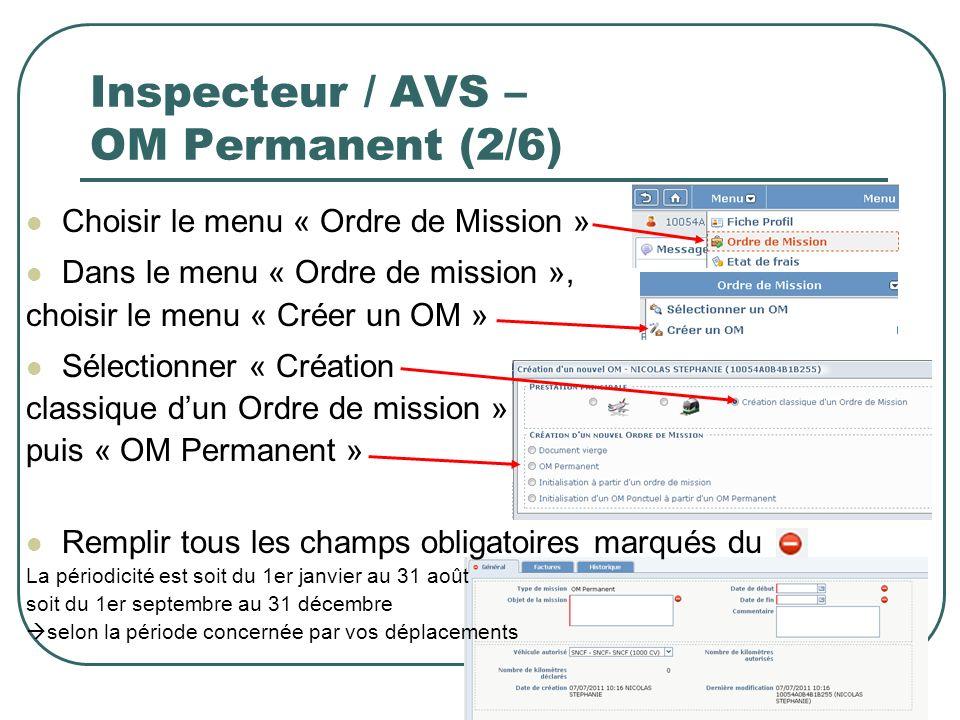 Inspecteur / AVS – OM Permanent (2/6)