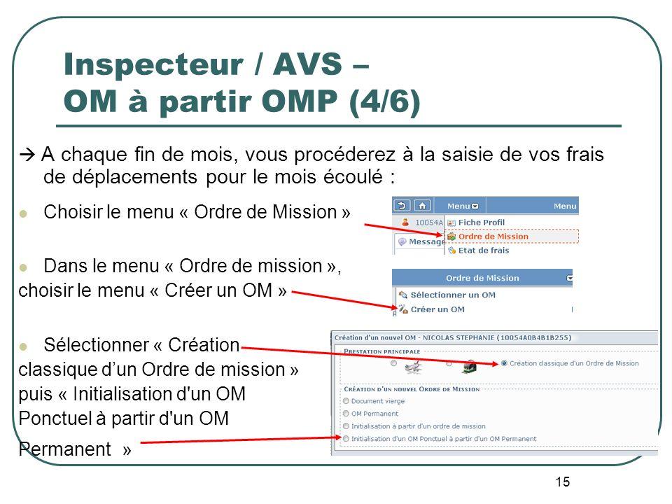 Inspecteur / AVS – OM à partir OMP (4/6)