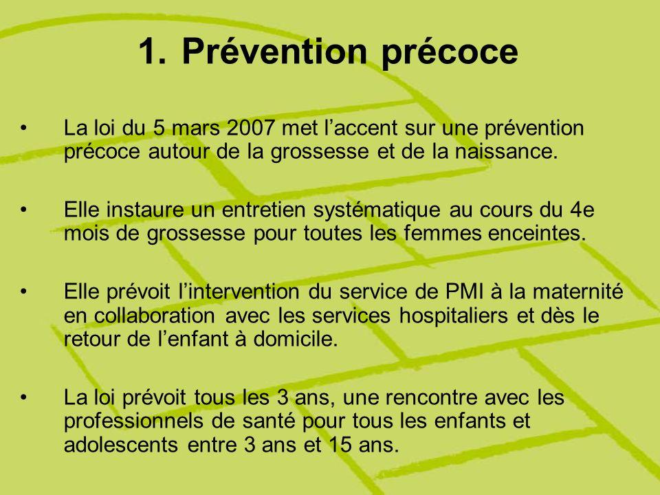 Prévention précoce La loi du 5 mars 2007 met l'accent sur une prévention précoce autour de la grossesse et de la naissance.