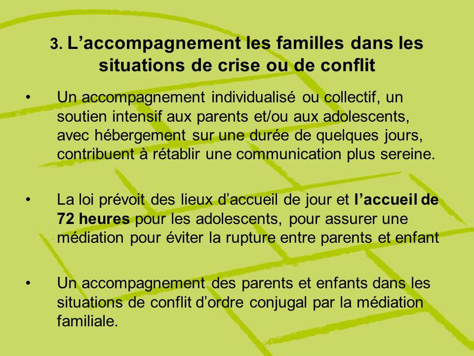 3. L'accompagnement les familles dans les situations de crise ou de conflit