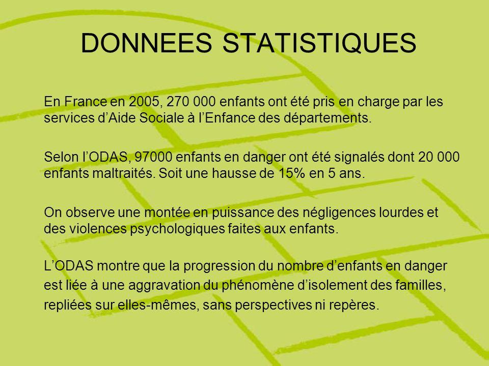 DONNEES STATISTIQUES En France en 2005, 270 000 enfants ont été pris en charge par les services d'Aide Sociale à l'Enfance des départements.
