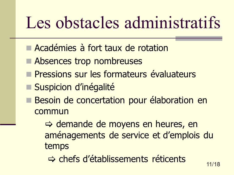 Les obstacles administratifs