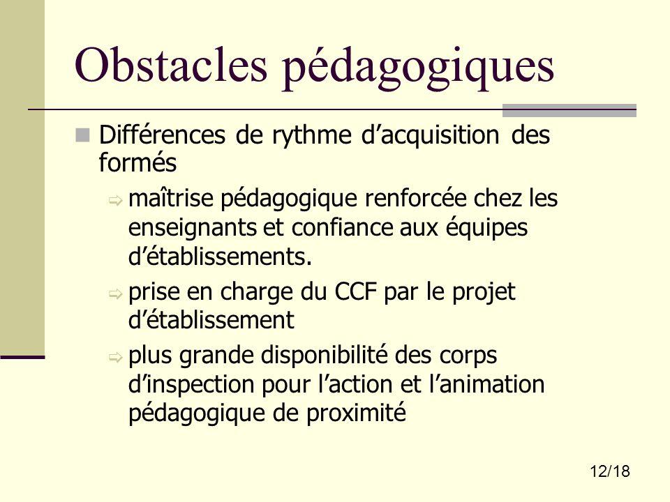 Obstacles pédagogiques