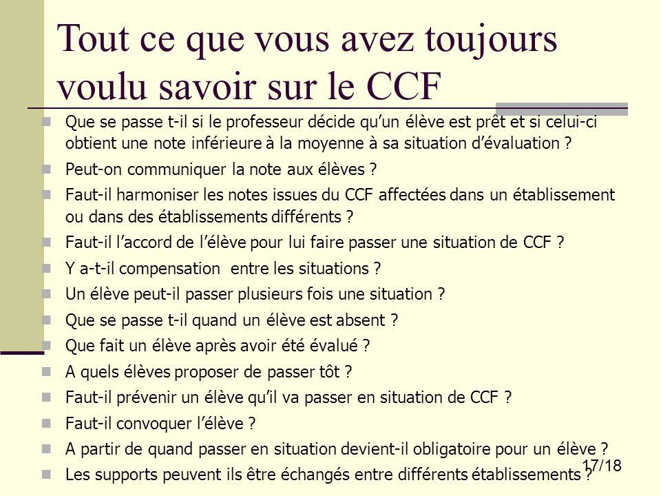Tout ce que vous avez toujours voulu savoir sur le CCF