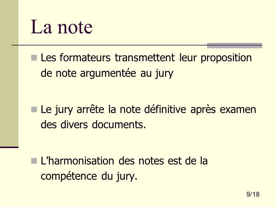 La note Les formateurs transmettent leur proposition de note argumentée au jury.