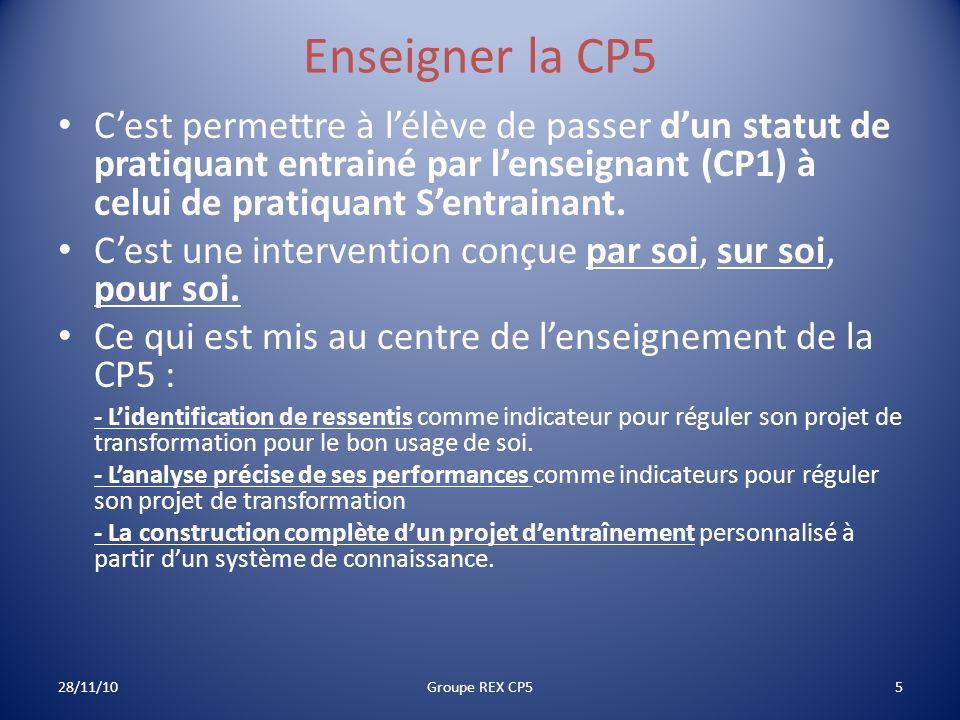 Enseigner la CP5 C'est permettre à l'élève de passer d'un statut de pratiquant entrainé par l'enseignant (CP1) à celui de pratiquant S'entrainant.