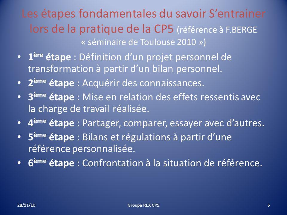 Les étapes fondamentales du savoir S'entrainer lors de la pratique de la CP5 (référence à F.BERGE « séminaire de Toulouse 2010 »)