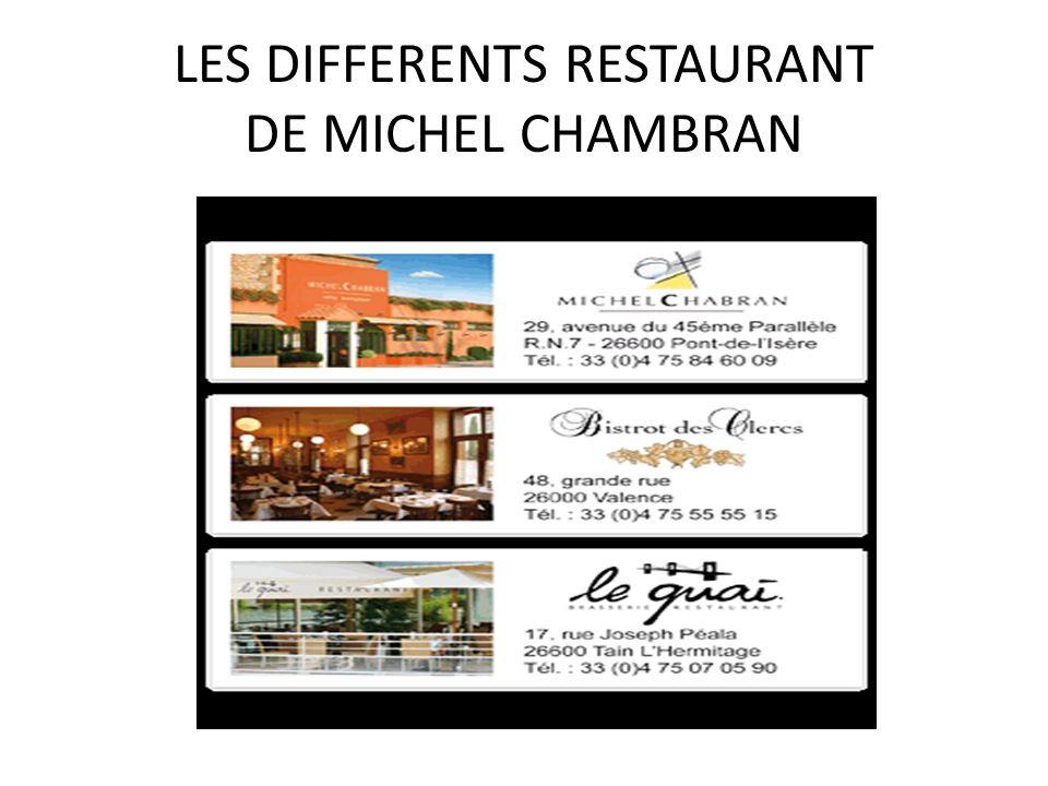LES DIFFERENTS RESTAURANT DE MICHEL CHAMBRAN