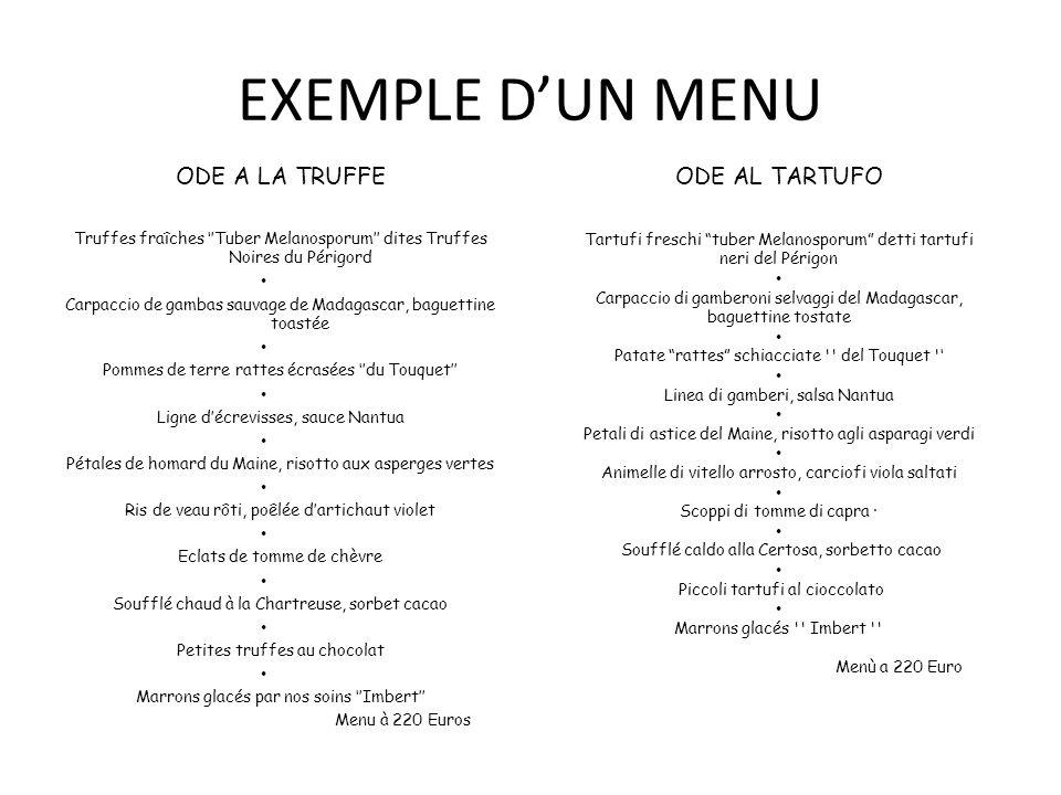 EXEMPLE D'UN MENU ODE A LA TRUFFE ODE AL TARTUFO