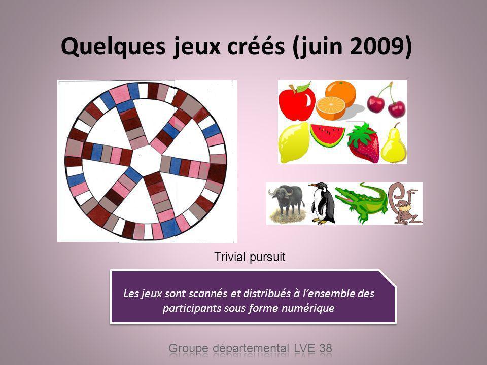 Quelques jeux créés (juin 2009)