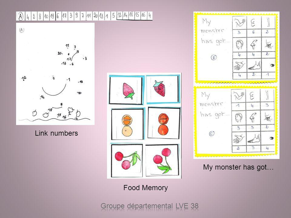 Link numbers My monster has got… Food Memory Groupe départemental LVE 38