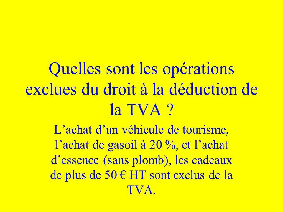 Quelles sont les opérations exclues du droit à la déduction de la TVA