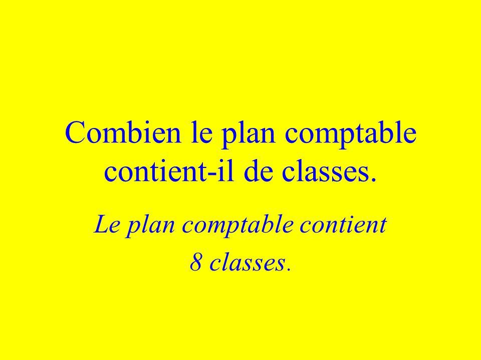 Combien le plan comptable contient-il de classes.
