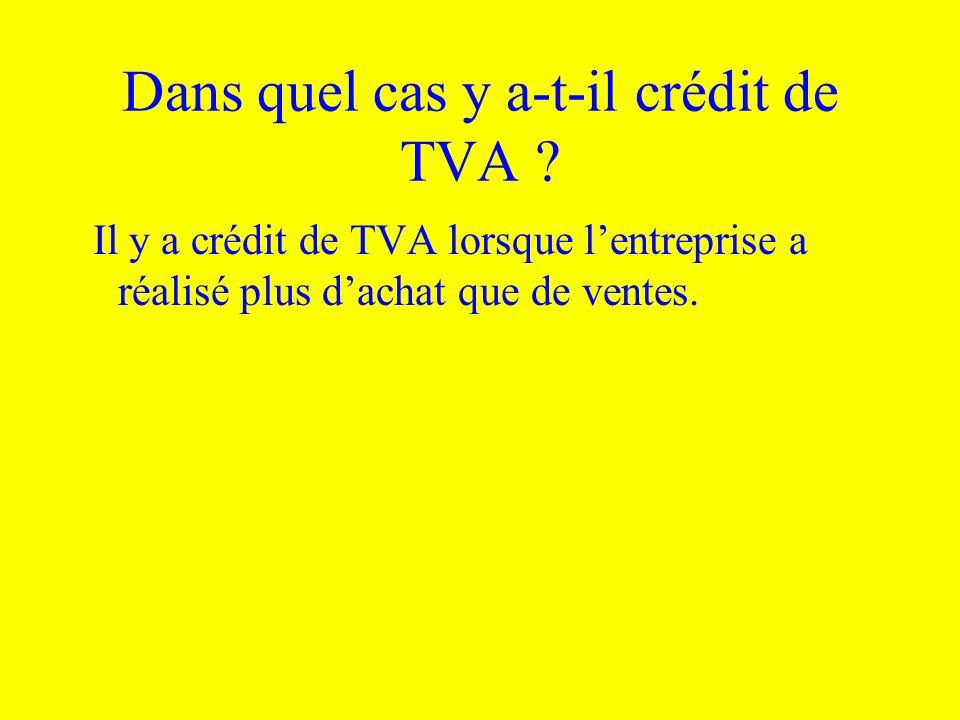 Dans quel cas y a-t-il crédit de TVA