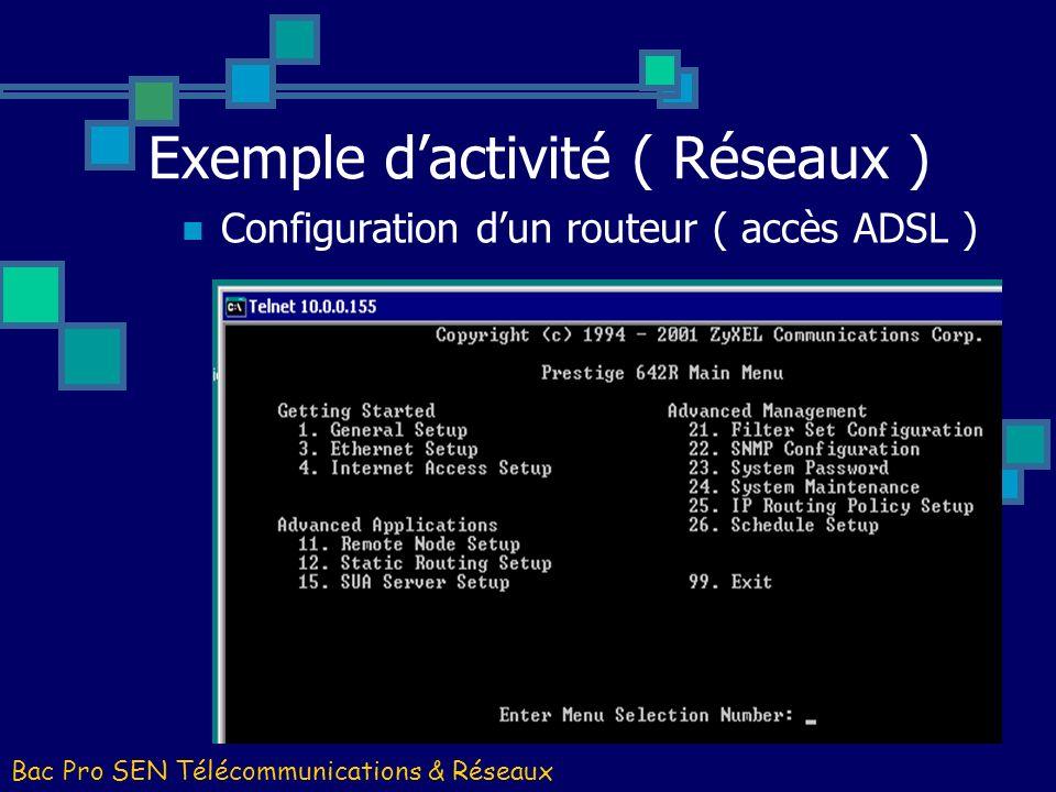 Exemple d'activité ( Réseaux )