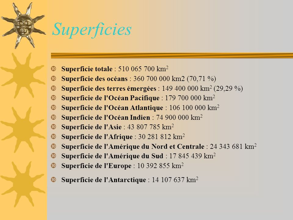 Superficies Superficie totale : 510 065 700 km2