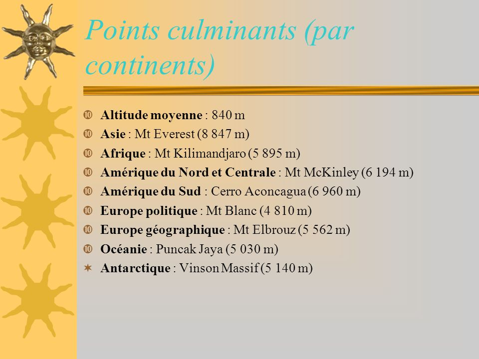 Points culminants (par continents)