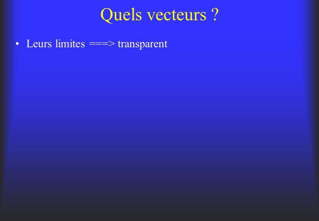 Quels vecteurs Leurs limites ===> transparent