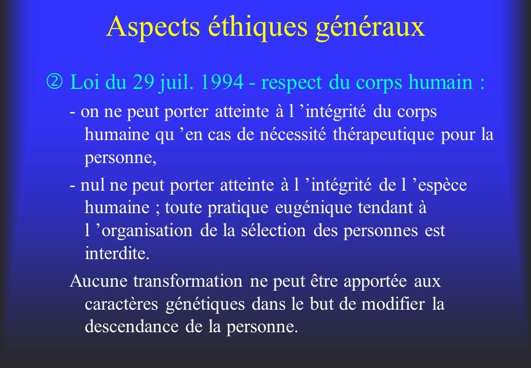 Aspects éthiques généraux