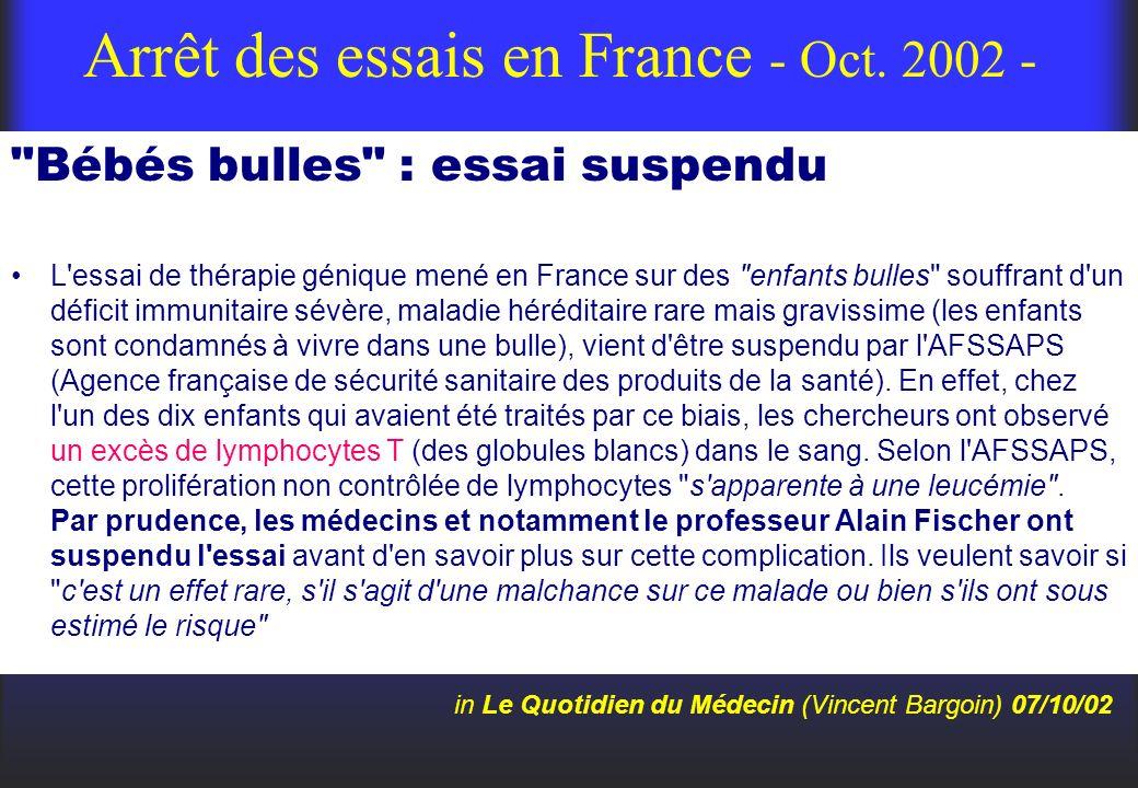 Arrêt des essais en France - Oct. 2002 -