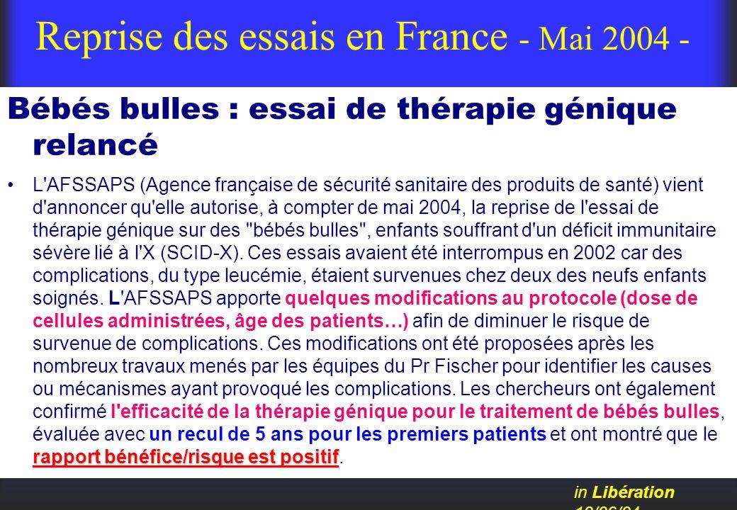 Reprise des essais en France - Mai 2004 -