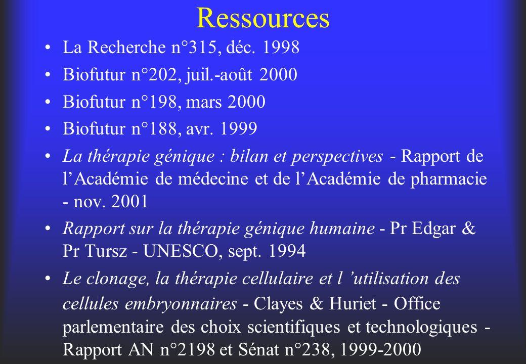 Ressources La Recherche n°315, déc. 1998