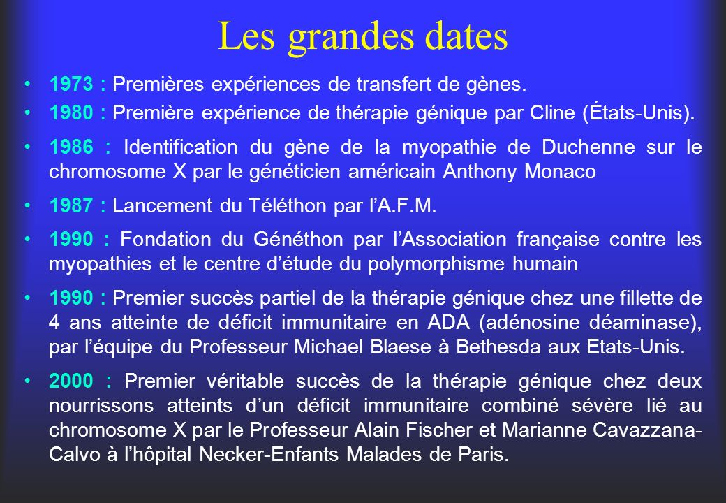 Les grandes dates 1973 : Premières expériences de transfert de gènes.