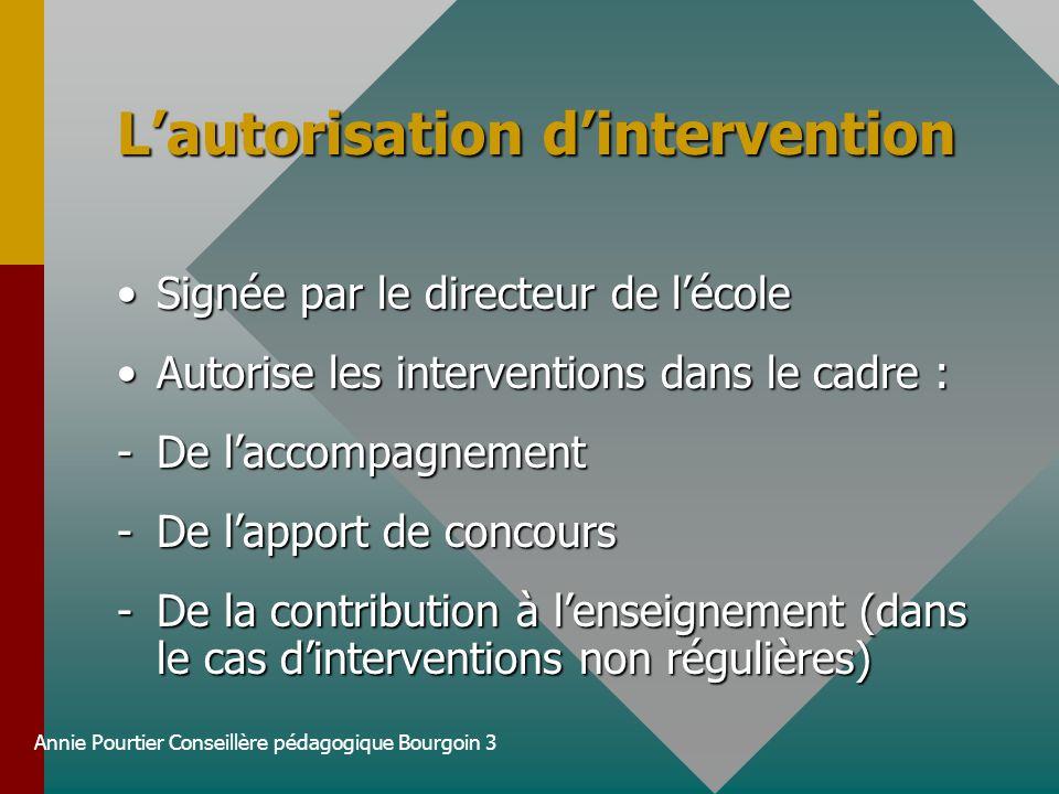 L'autorisation d'intervention