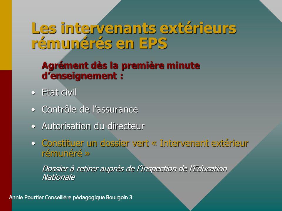 Les intervenants extérieurs rémunérés en EPS