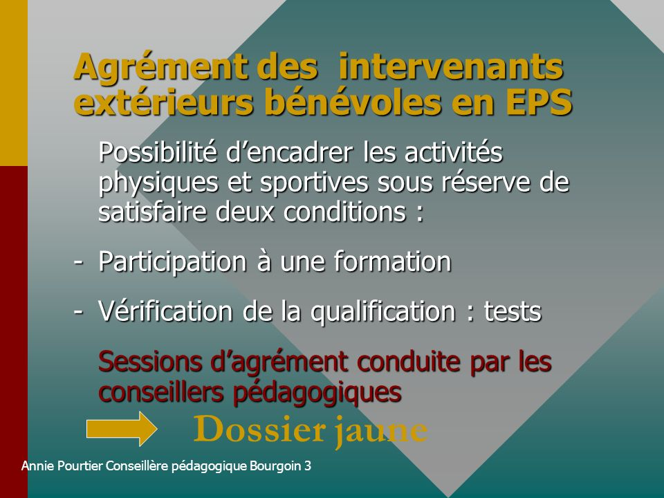 Agrément des intervenants extérieurs bénévoles en EPS