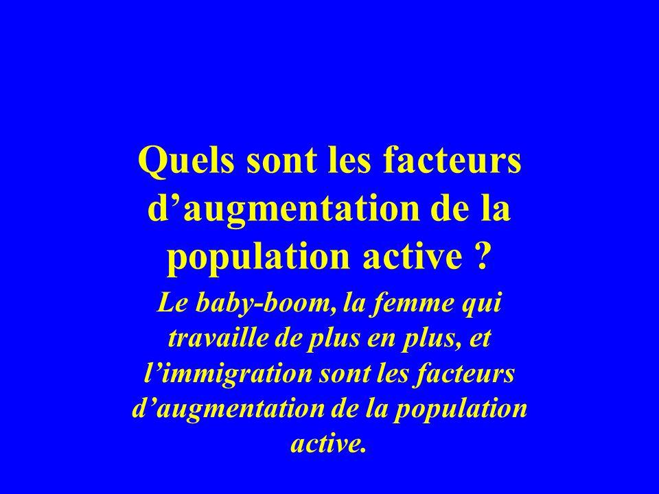Quels sont les facteurs d'augmentation de la population active