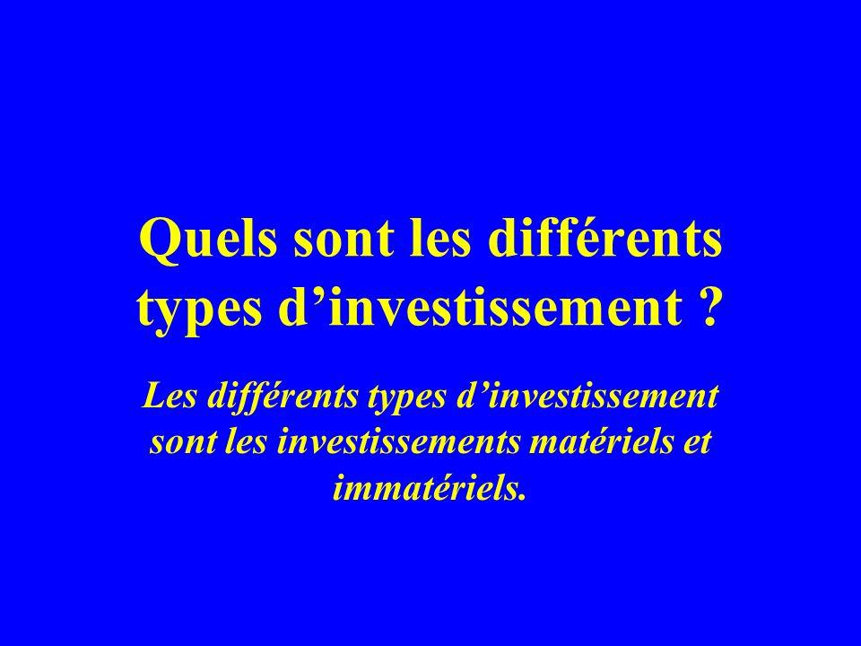 Quels sont les différents types d'investissement