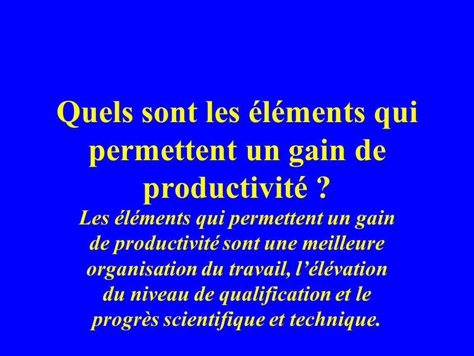 Quels sont les éléments qui permettent un gain de productivité