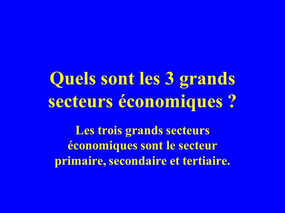 Quels sont les 3 grands secteurs économiques