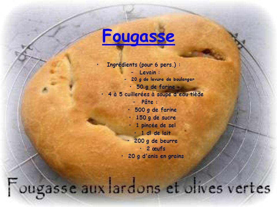 Fougasse Ingrédients (pour 6 pers.) : Levain : 50 g de farine