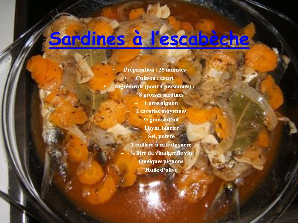 Sardines à l'escabèche