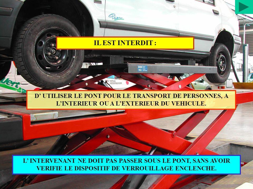 IL EST INTERDIT : D' UTILISER LE PONT POUR LE TRANSPORT DE PERSONNES, A L'INTERIEUR OU A L'EXTERIEUR DU VEHICULE.