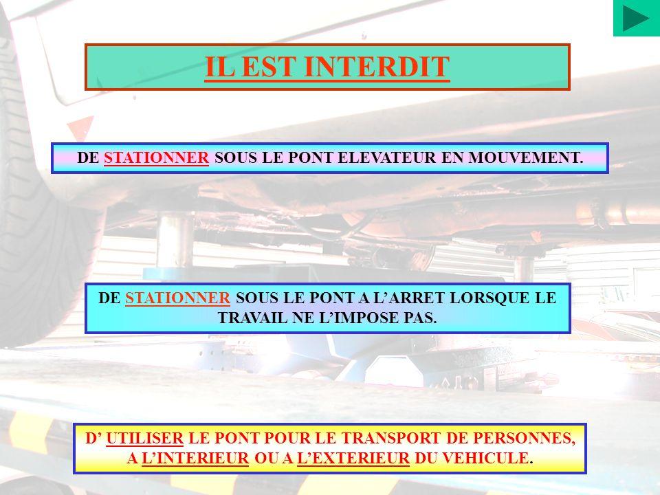 DE STATIONNER SOUS LE PONT ELEVATEUR EN MOUVEMENT.